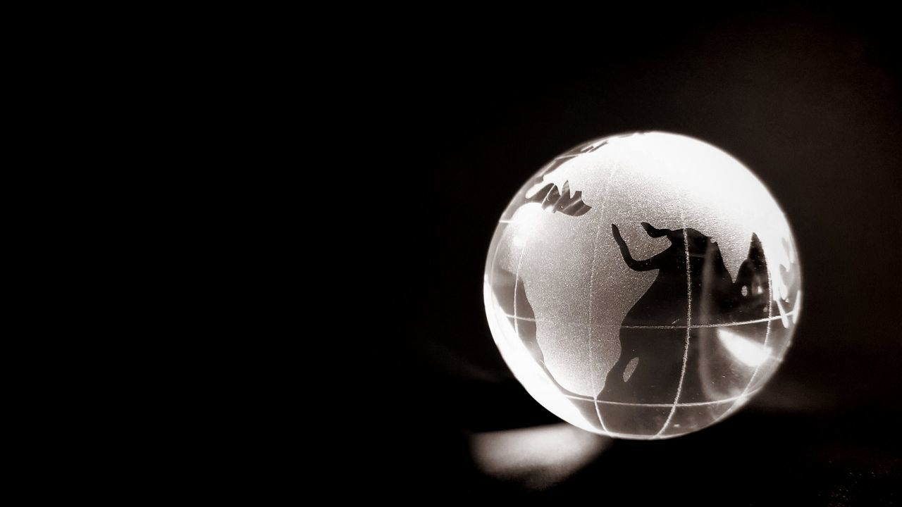 Ball Black Background Blackandwhite Dark Details EyeEm Best Shots - Black + White EyeEm Gallery Freedom Glass Globe Glowing Hello World Ideas Indoors  Light Light And Shadow Night Shiny Single Object Still Life Studio Shot The Changing City We Are The World World How Do We Build The World? The City Light Welcome To Black