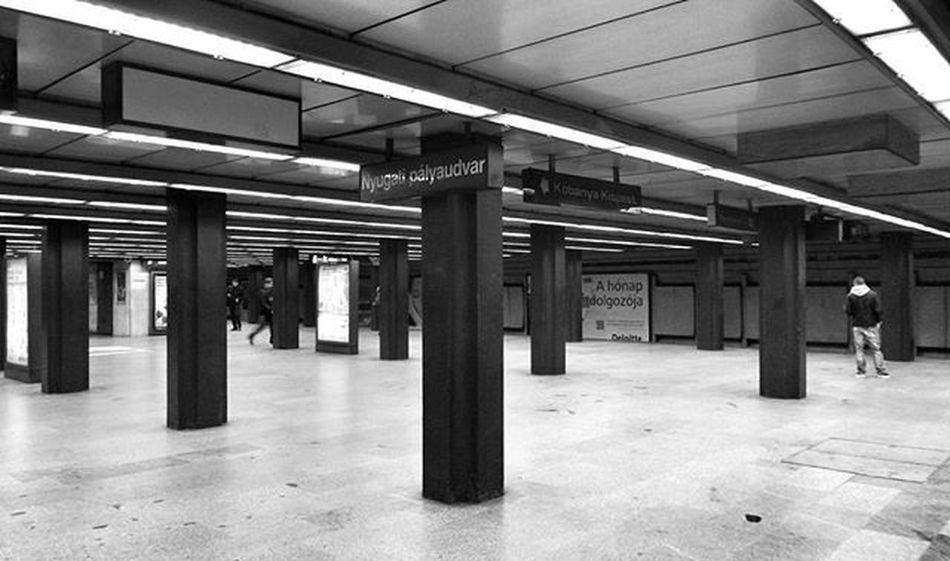 Budapest Hungary Nyugati Blackandwhite Underground Train Calm Mood Style Silence People Morning Before Work Travel To  School