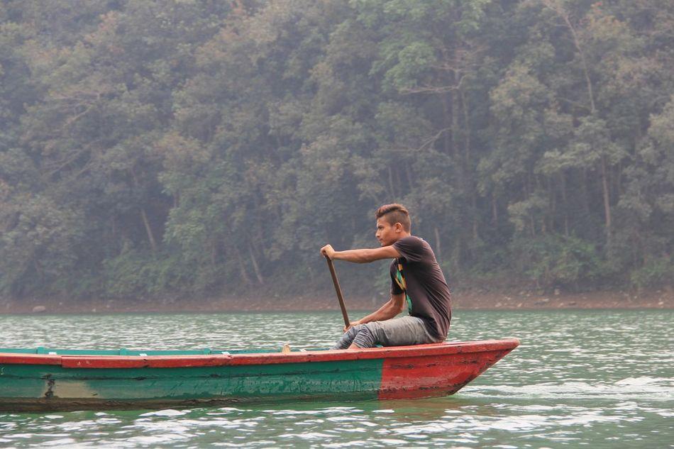 Phewa Lake Pokhara! Local Life One Man Only Boatman