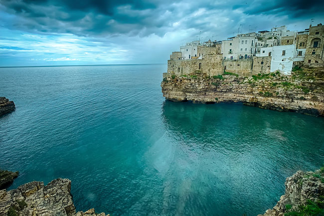 Architecture Beauty In Nature Blue Built Structure Cloud Cloud - Sky Cloudy Coastline Day HDR Horizon Over Water Idyllic Nature No People Ocean Outdoors Panorama Polignano A Mare Rippled Scenics Sea Sky Tranquil Scene Tranquility Water
