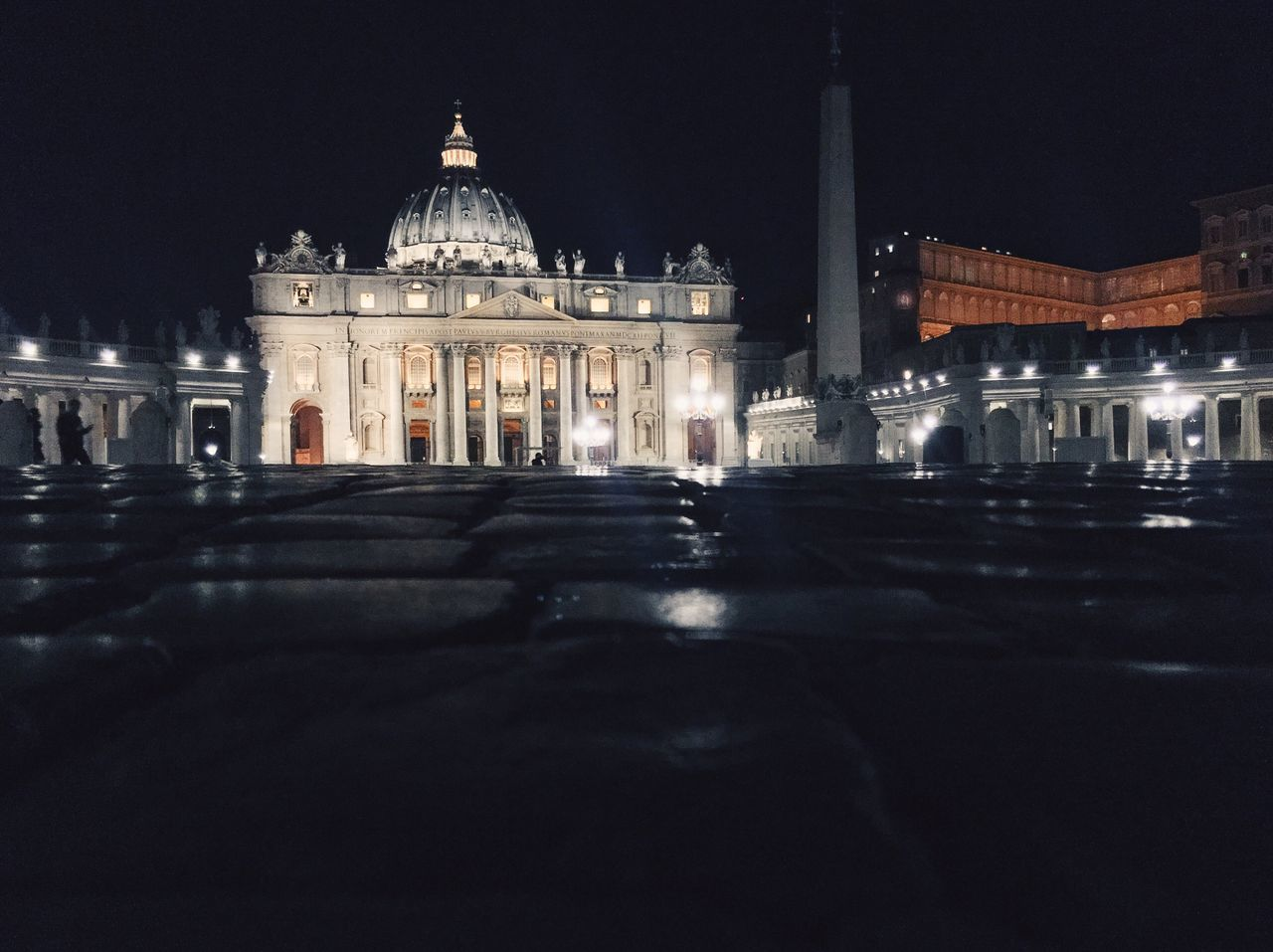 San Pietro In Vaticano Rome Travel Night Catholic Religion Church Architecture Built Structure Building Exterior Travel Destinations Government Tourism Getting Inspired San Pietro Illuminated City Life Basilica Vatican