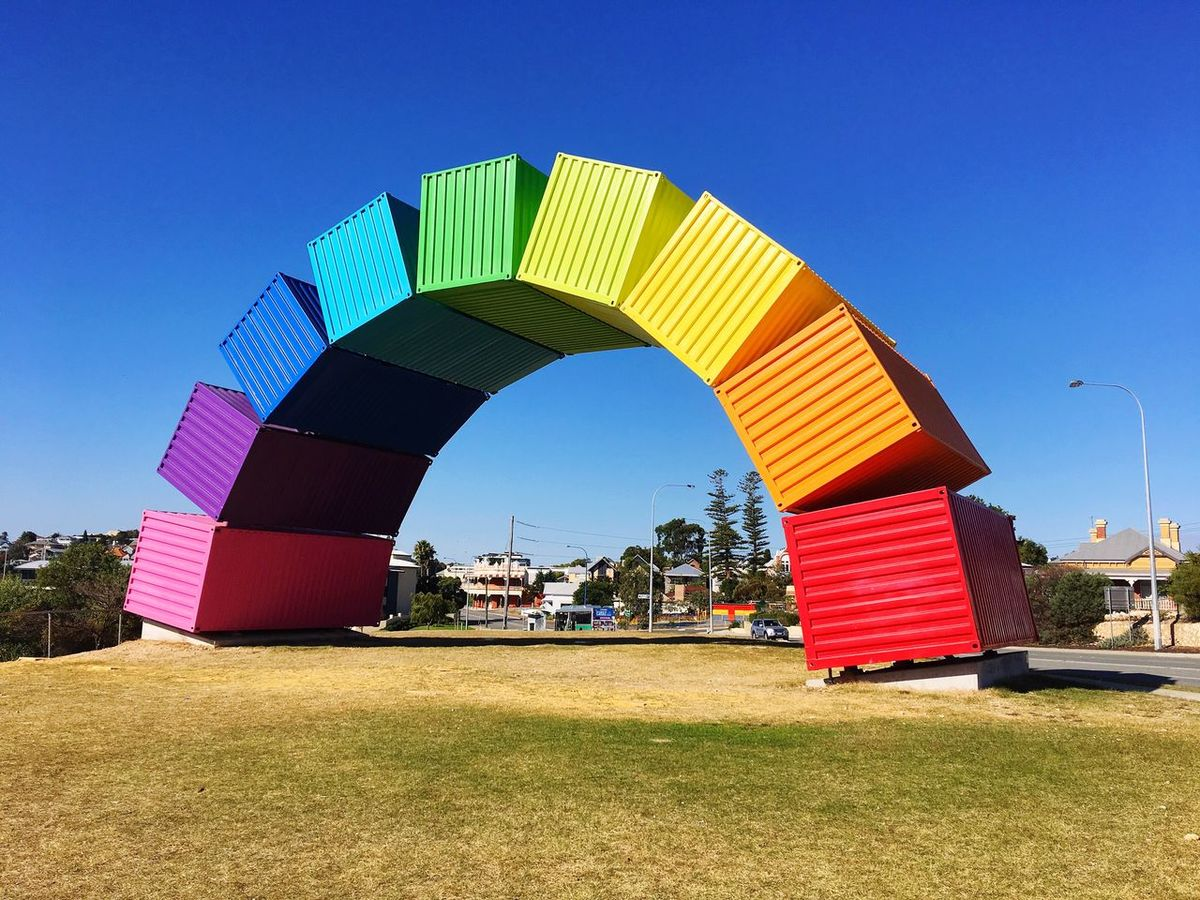The Cabin Blue Day Clear Sky Outdoors Sky Built Structure Multi Colored Architecture Grass No People Perth Perth City Fremantle, Western Australia Travel IPhoneography Travel Destinations Colors Colorful Container