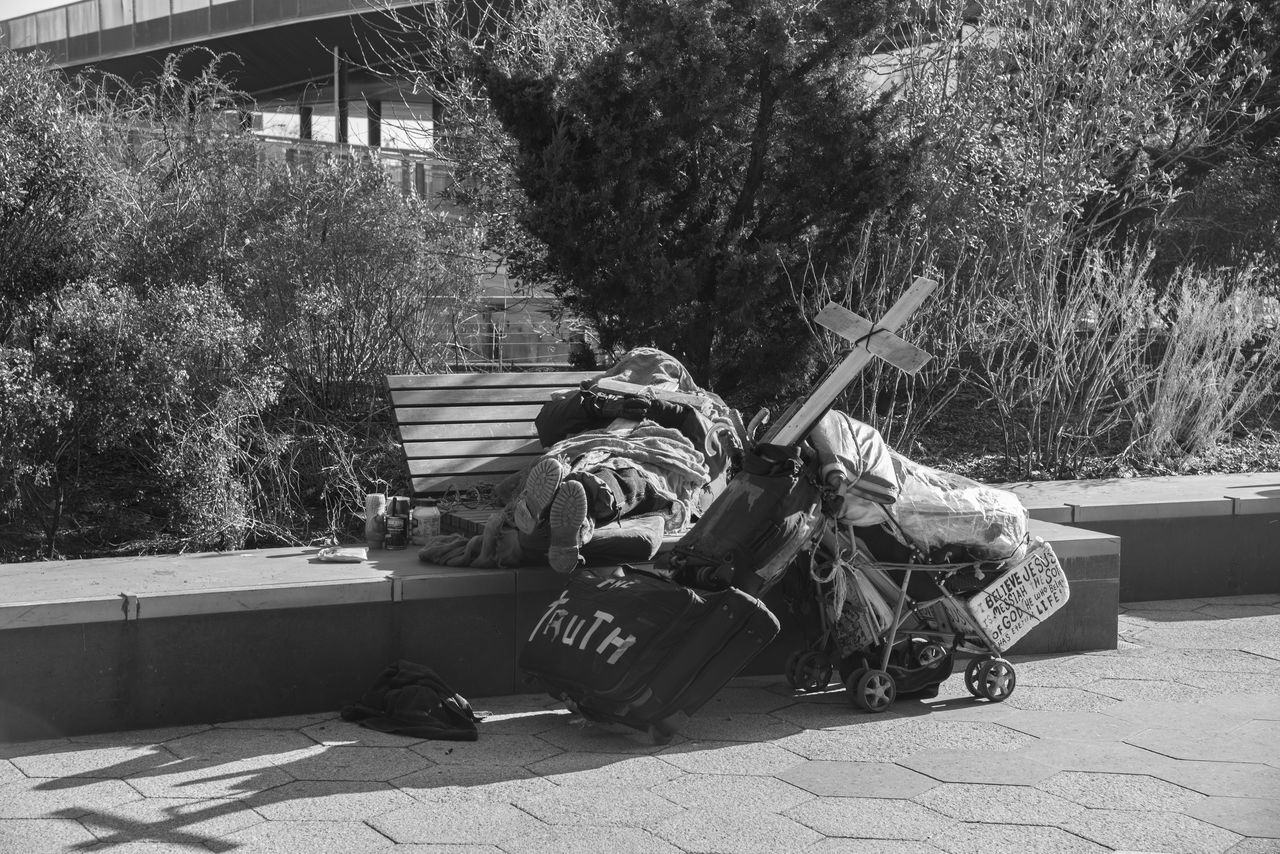 Homeless man in new york with large cross on top of his possessions Black And White Close-up Documentary Faith Homeless Homeless Cats Homelessness  ISSUE New York City Problem Real People Religion Reportage Save Shadow Shadows & Lights The Truth EyeEmNewHere