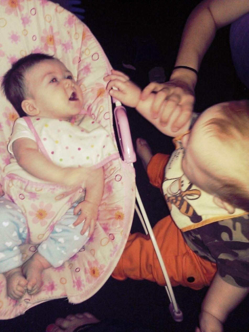 Alaina And Eason Playing. :)