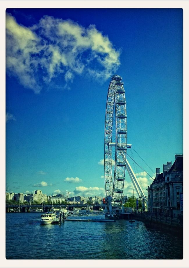 Blue Sky London Eye Clouds And Sky River Thames Wheel At Westminster Bridge