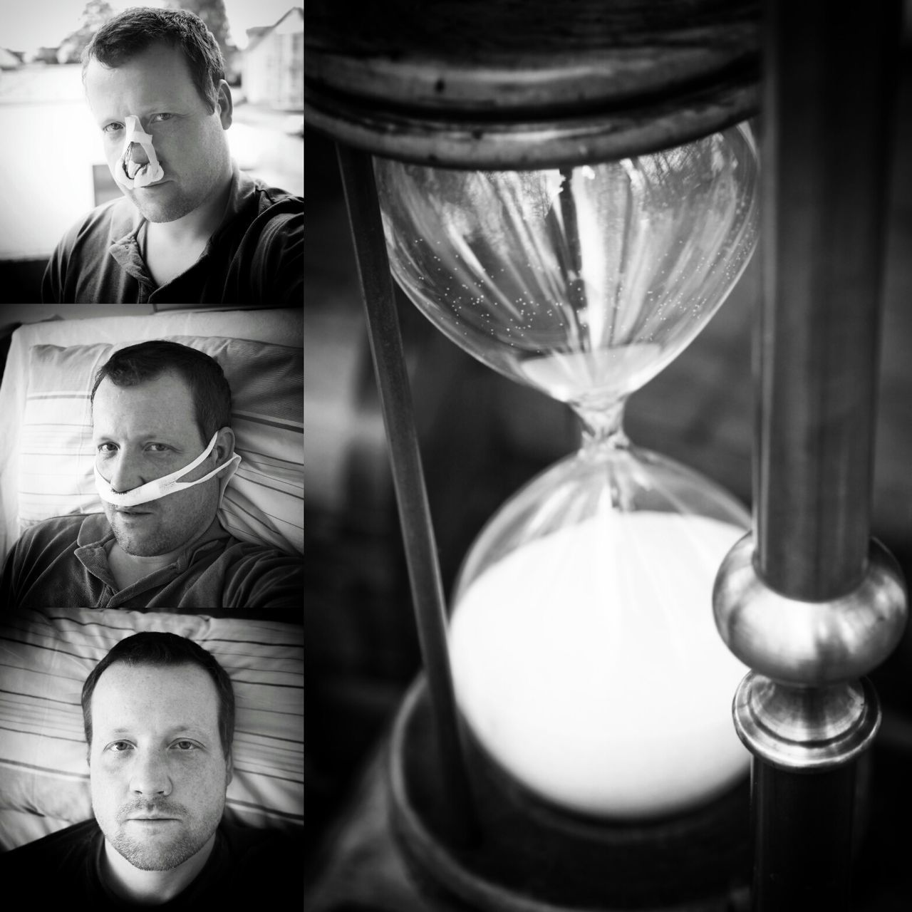 """Time is a healer"", they say, and time itself told me it's true. - MAinLoveWithLightAndShadow Nose Surgery Pain Wounds Time Healer Healing Hourglass Sandglass Black And White Bnw Bnw_collection Bnw_captures Bnw_life Bnw Photography Bnw_maniac Self Portrait Self Selfie Thats Me  Seeing The World Differently Heads Up As Time Goes By How I See Things - 17.05.2017 - #KarlHansenKlinik #BadLippspringe"