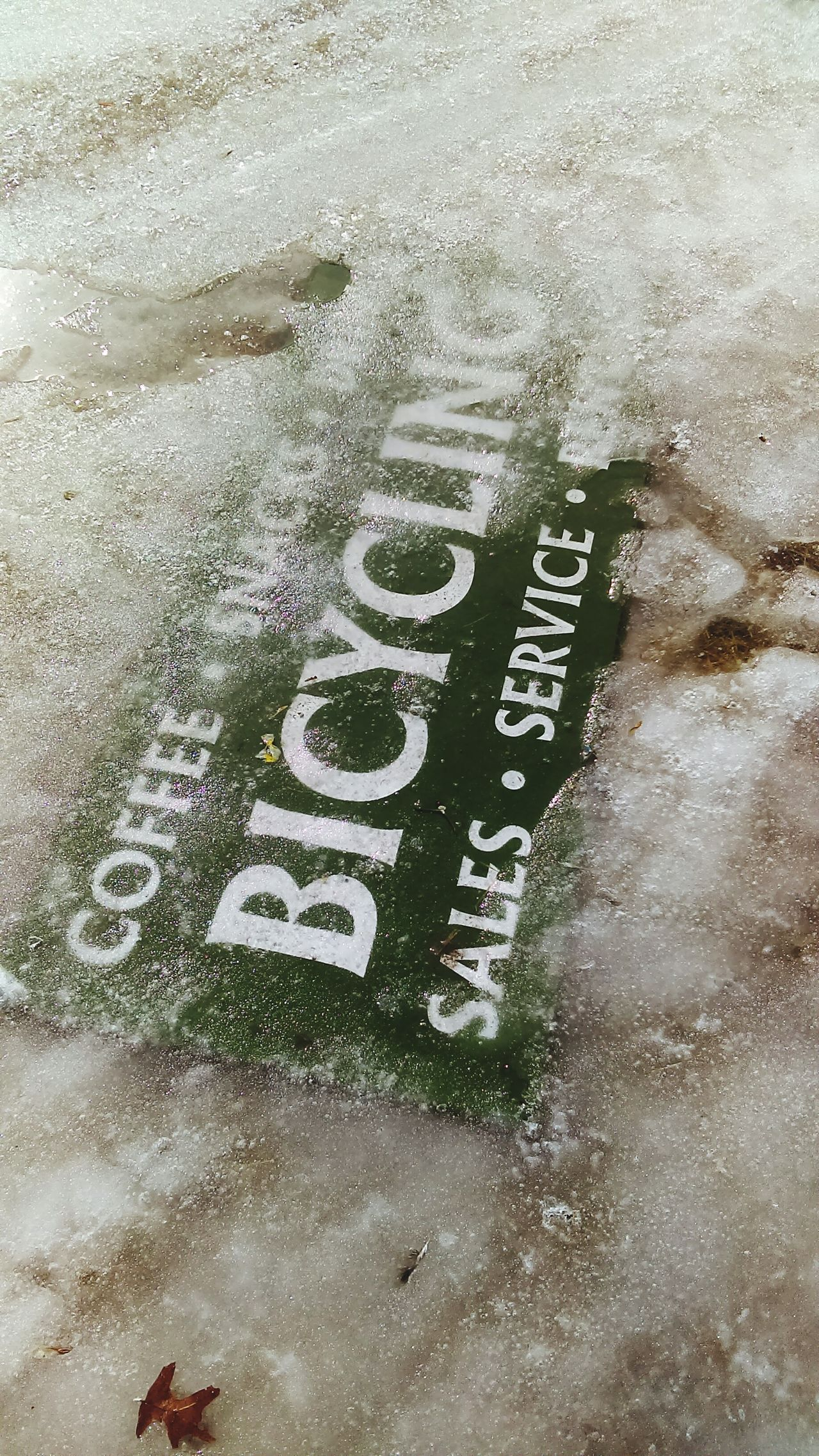 Close-up No People Day Text Outdoors Sign Signboard Signs_collection Ice Melting Ice Bicycle Signs Bicyclelife