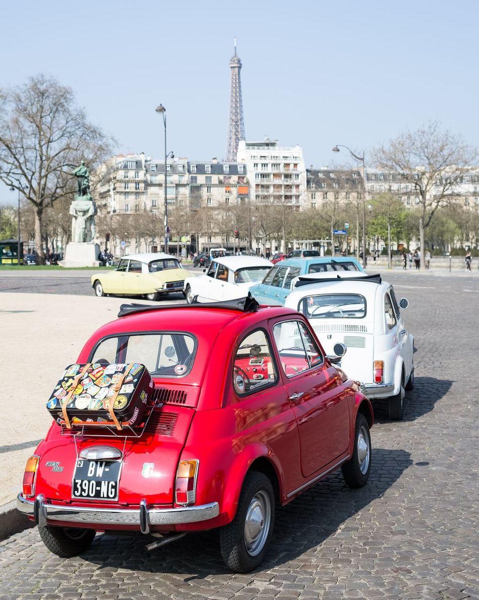 Fiat500 Tour Eiffel Fiat Cinquecento Paris Mode Of Transport Transportation Red Car Tour Eiffel, Paris. Eiffel Eiffel Tower Canon 5d Mark Lll Canon 40mm Pancake Voitures Anciennes City Touche Pas à Mon Ancienne Ronde Des Bannies