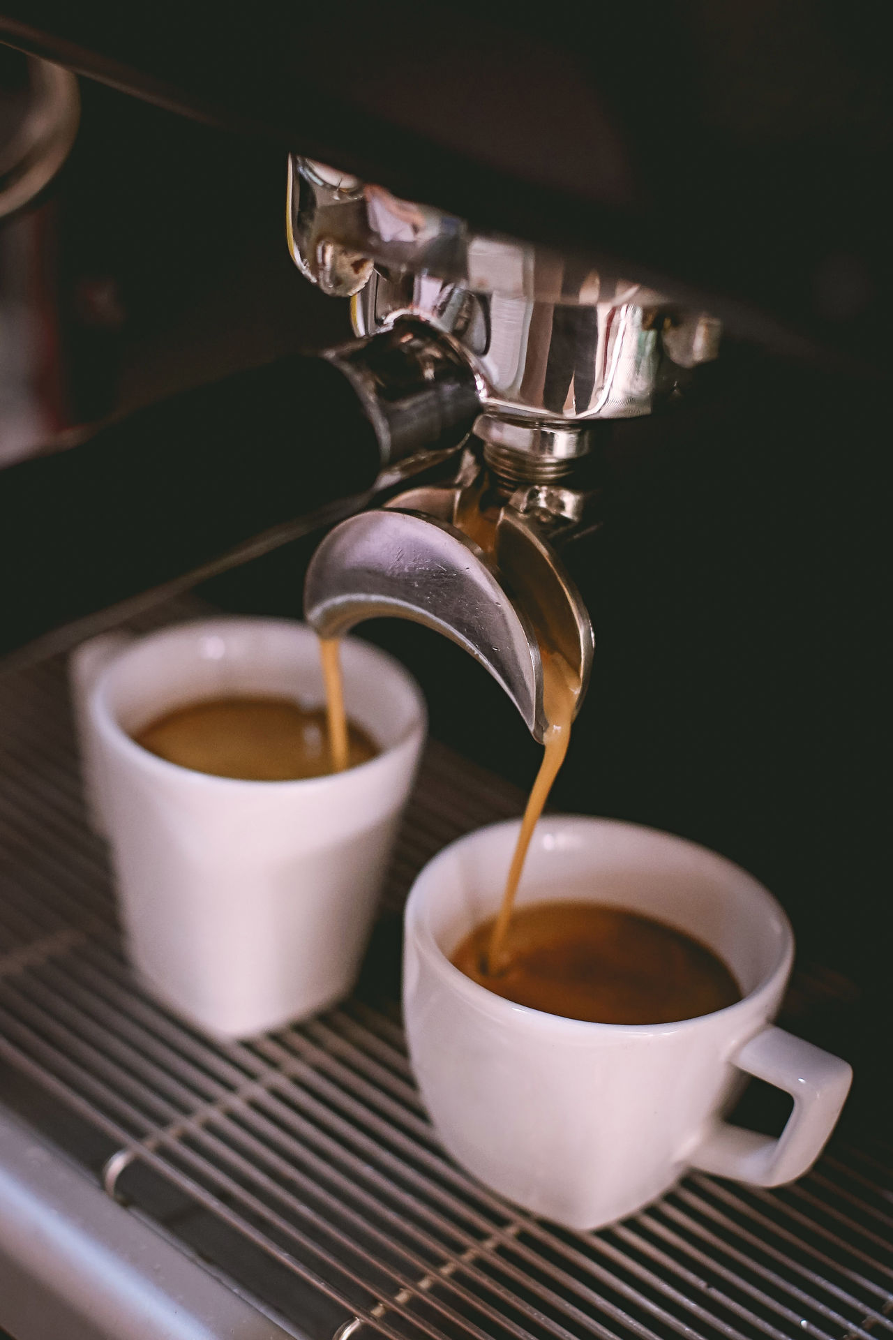 Espresso machine taking two coffee cups Close-up Coffee - Drink Coffee Cup Cup Drink Espresso Espresso Maker Food And Drink Indoors  Machinery No People