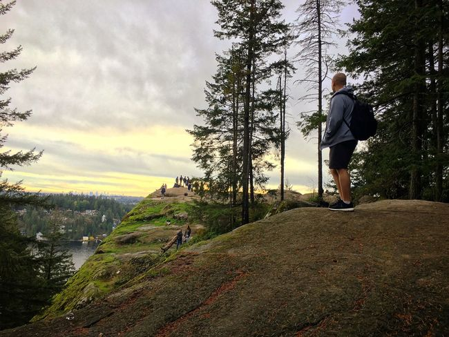 Deep Cove Mountain Healthy Lifestyle Exercising Nature Hiking Adventure Person Outdoors Climbing Sport Tree Challenge Canada Vancouver BC Sea And Sky