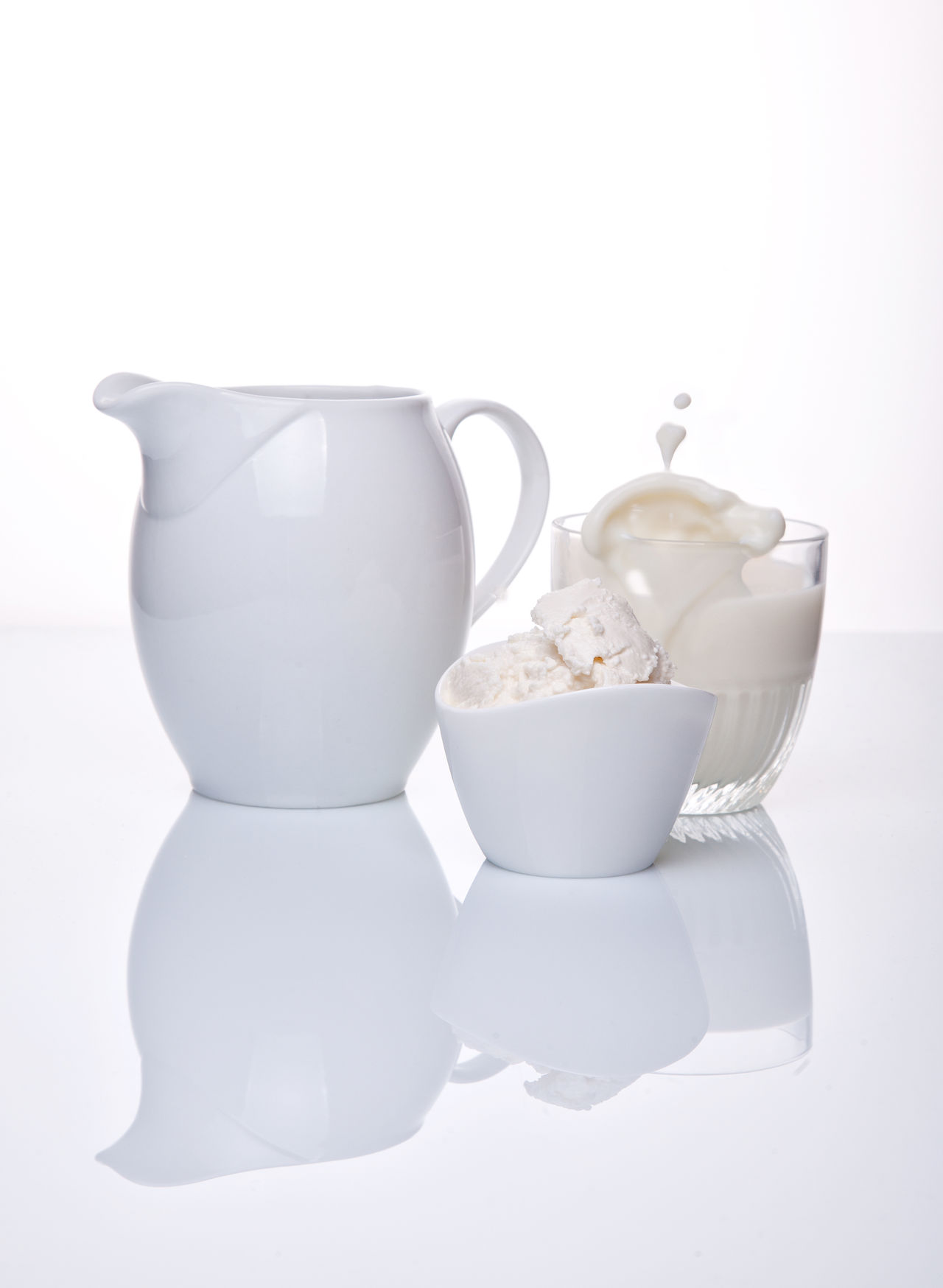 Bowl Cheese Close-up Cottage Cheese Day Drink Food And Drink Freshness Indoors  Milk No People Still Life Studio Shot Teapot White Background White On White