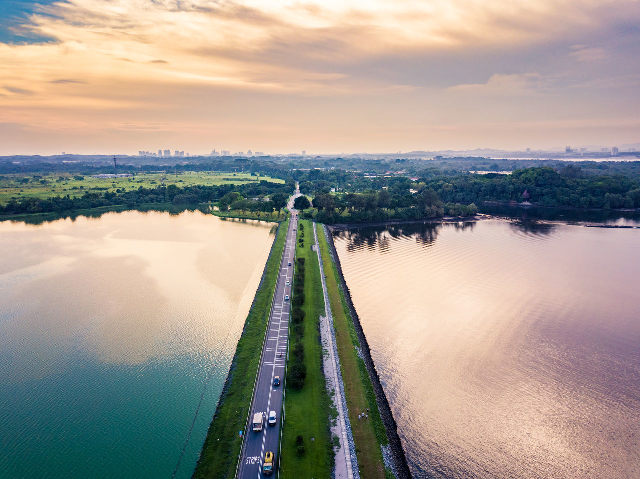 Architecture Beauty In Nature Bridge - Man Made Structure Building Exterior Built Structure City Cloud - Sky Dam Day Drone  Dronephotography High Angle View Kranji  Nature No People Outdoors River Scenics Singapore Sky Sunset Travel Destinations Tree Water