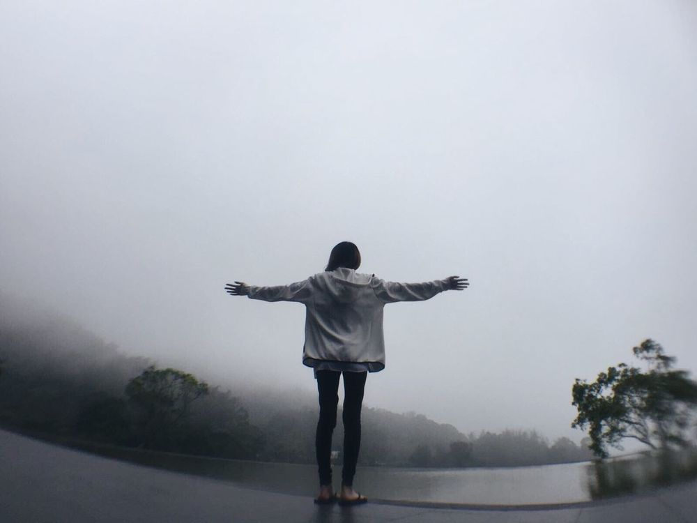 One Person Standing Arms Outstretched Rear View Lifestyles Beauty In Nature Nature NatureIsBeautiful Natureisawesome Mist EyeEmNewHere
