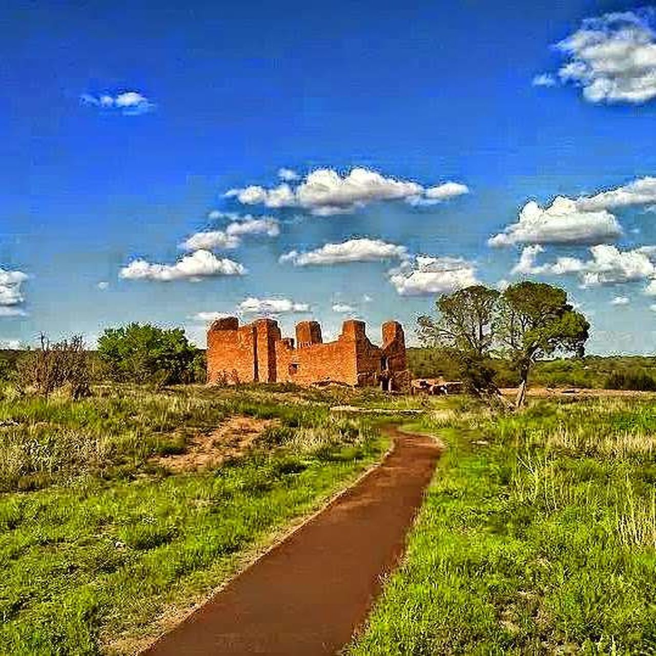 Quarai Ruins Manzano, NM Sky Cloud - Sky History The Past Blue Architecture Ancient Built Structure Old Ruin War Tree Monument Outdoors Travel Destinations Ancient History No People Scenics Grass Nature Medieval