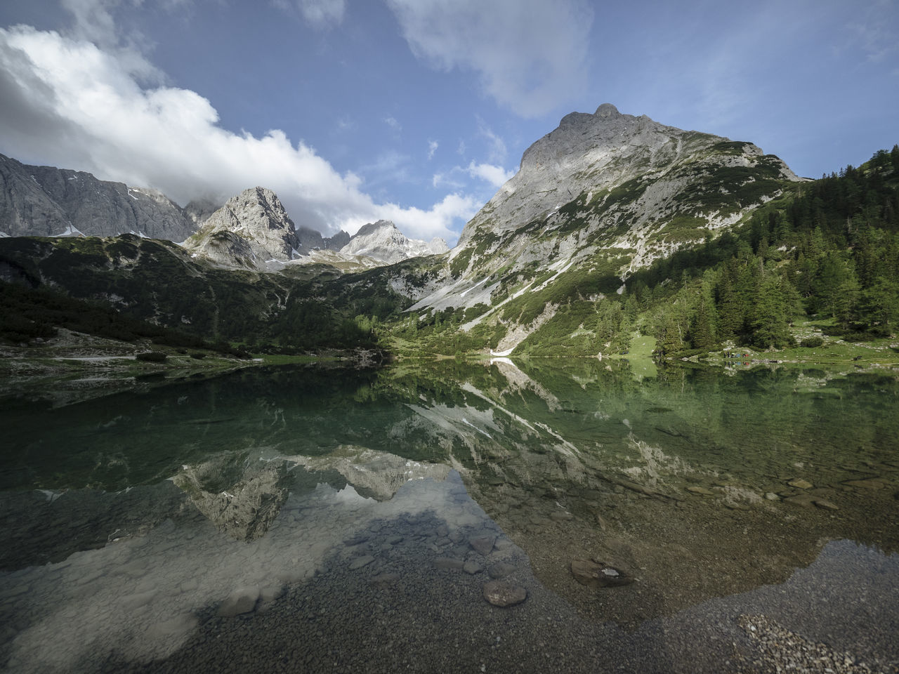 Seebensee, Tirol Beauty In Nature Cloud - Sky Day Lake Landscape Mountain Mountain Range Nature Nature No People Outdoors Scenery Scenics Sky Tiro Tirol  Tranquil Scene Tranquility Water Wilderness