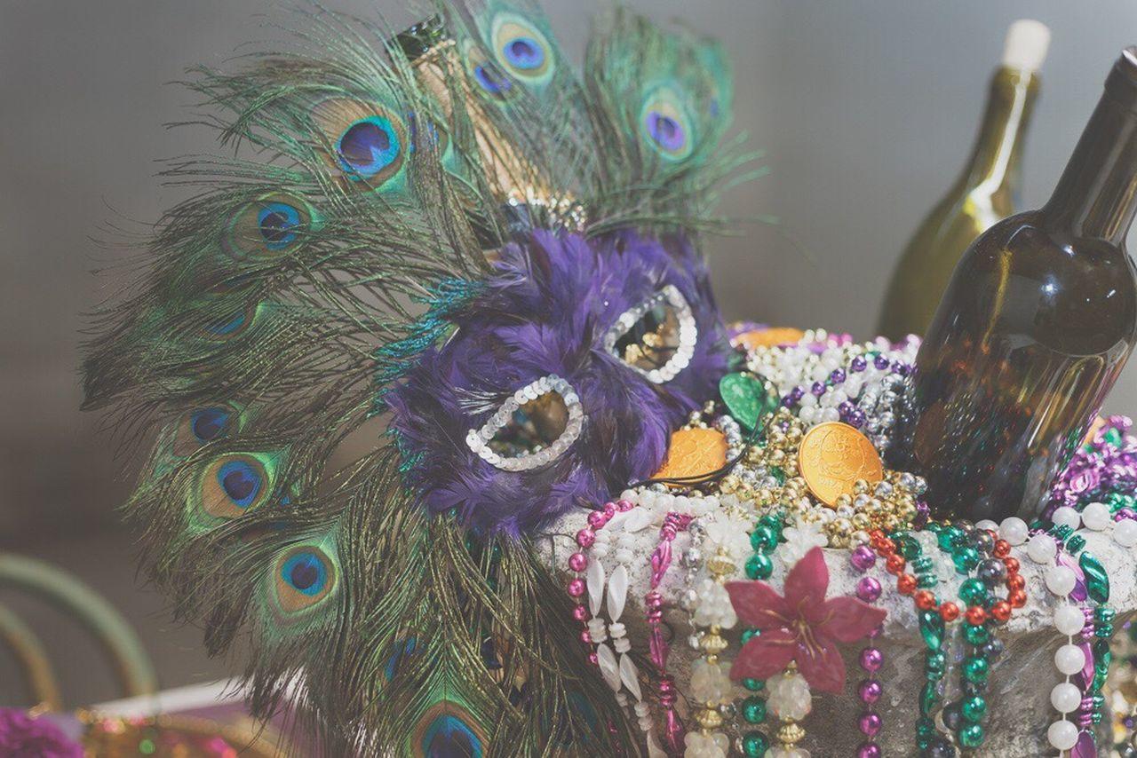 Mardi Gras Tablescape Masquerademasks Beads Peacock Feather Vibrant Color Multi Colored No People Arrangement No Filter