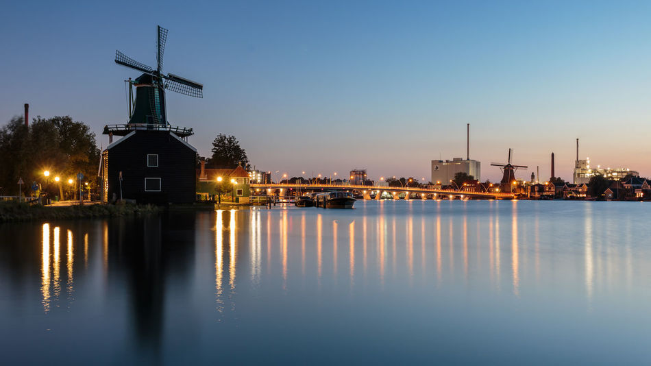 Zaanse skyline Bridge Calm Dusk Dutch Europe Holland Long Exposure Outdoors Peace Peaceful Reflection River Riverbank Seeing The Sights Skyline Tourist Attraction  Twilight Windmill Zaandam Zaandijk Zaanse Schans