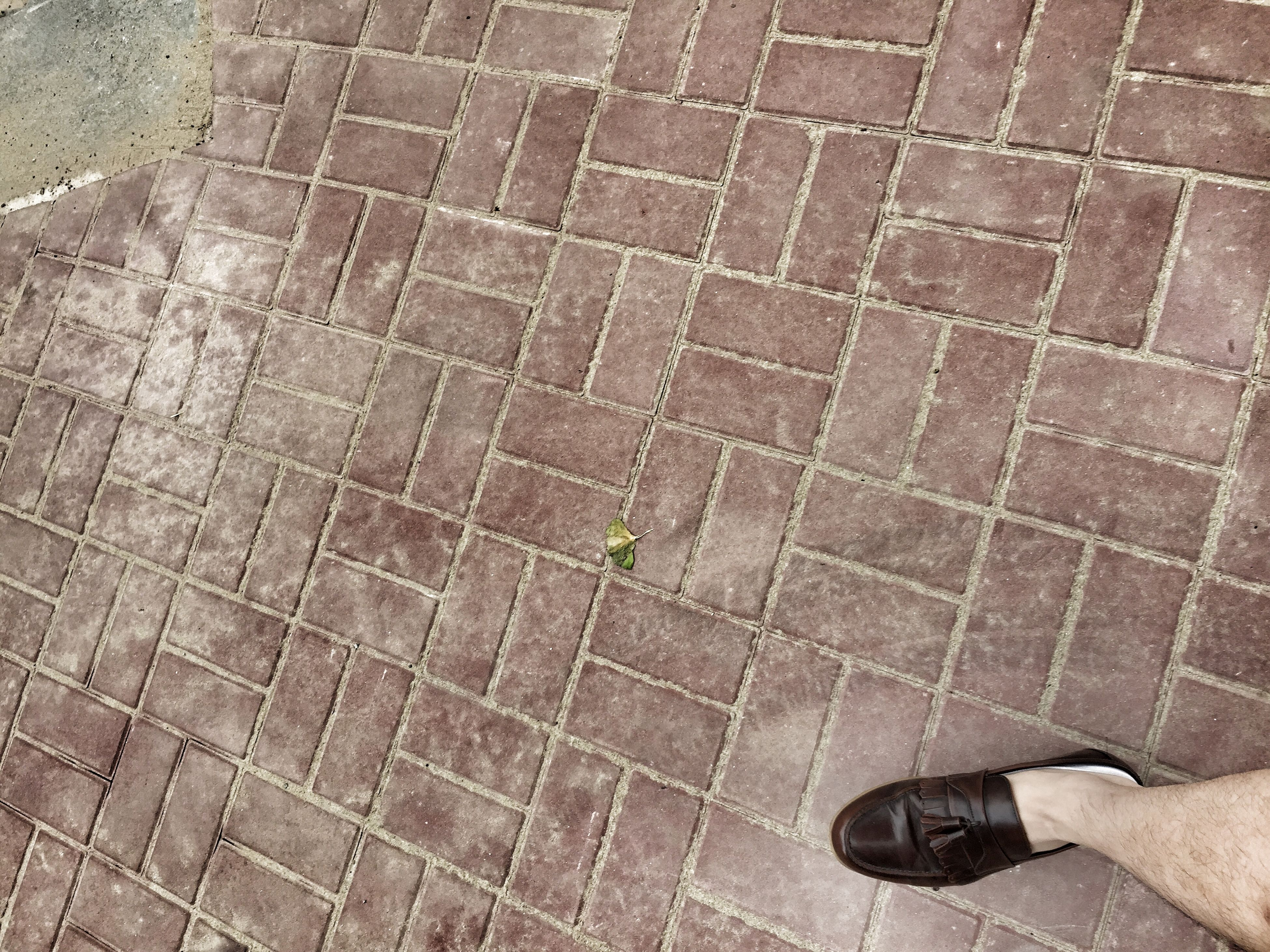 low section, person, high angle view, shoe, tiled floor, paving stone, cobblestone, footpath, footwear, street, flooring, sidewalk, pattern, human foot, personal perspective, standing, tile