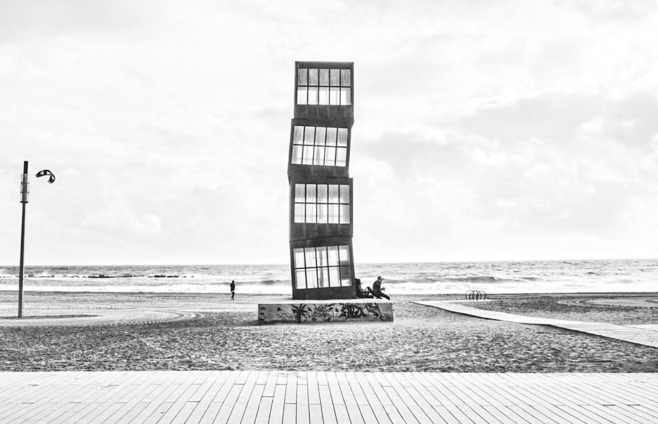 Beach Beauty In Nature Black And White Blackandwhite Horizon Over Water No People Sand Scenics Sea Sky Tower Tranquil Scene Water Wrong Direction