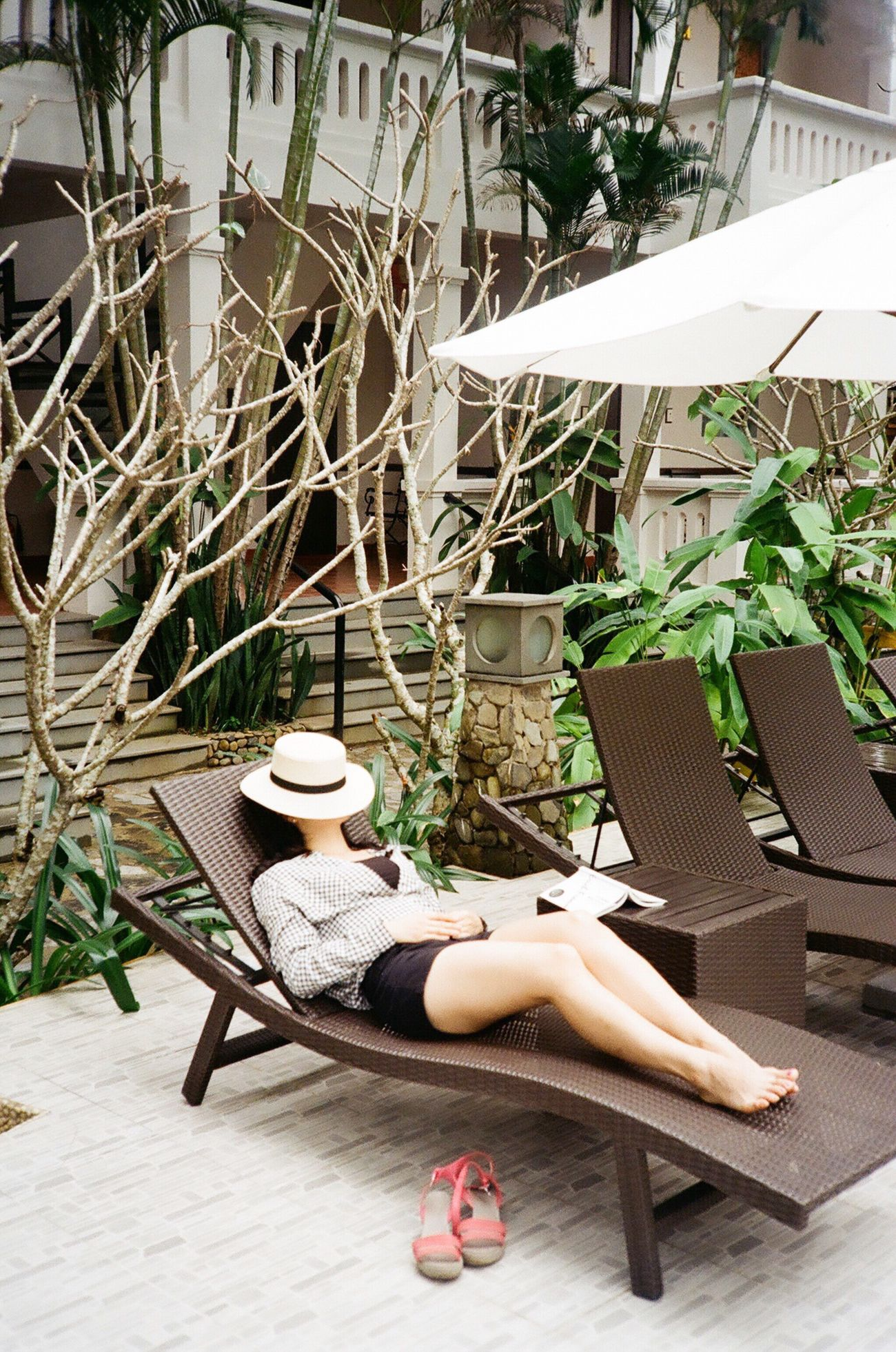 Film Film Photography Filmisnotdead Analogue Photography Capture The Moment Vietnam Hoi An Resort Relaxing Only Women Outdoor Chair Holiday Take A Break Tree Sleep Cozy Vacations Light And Shadow Laying Down