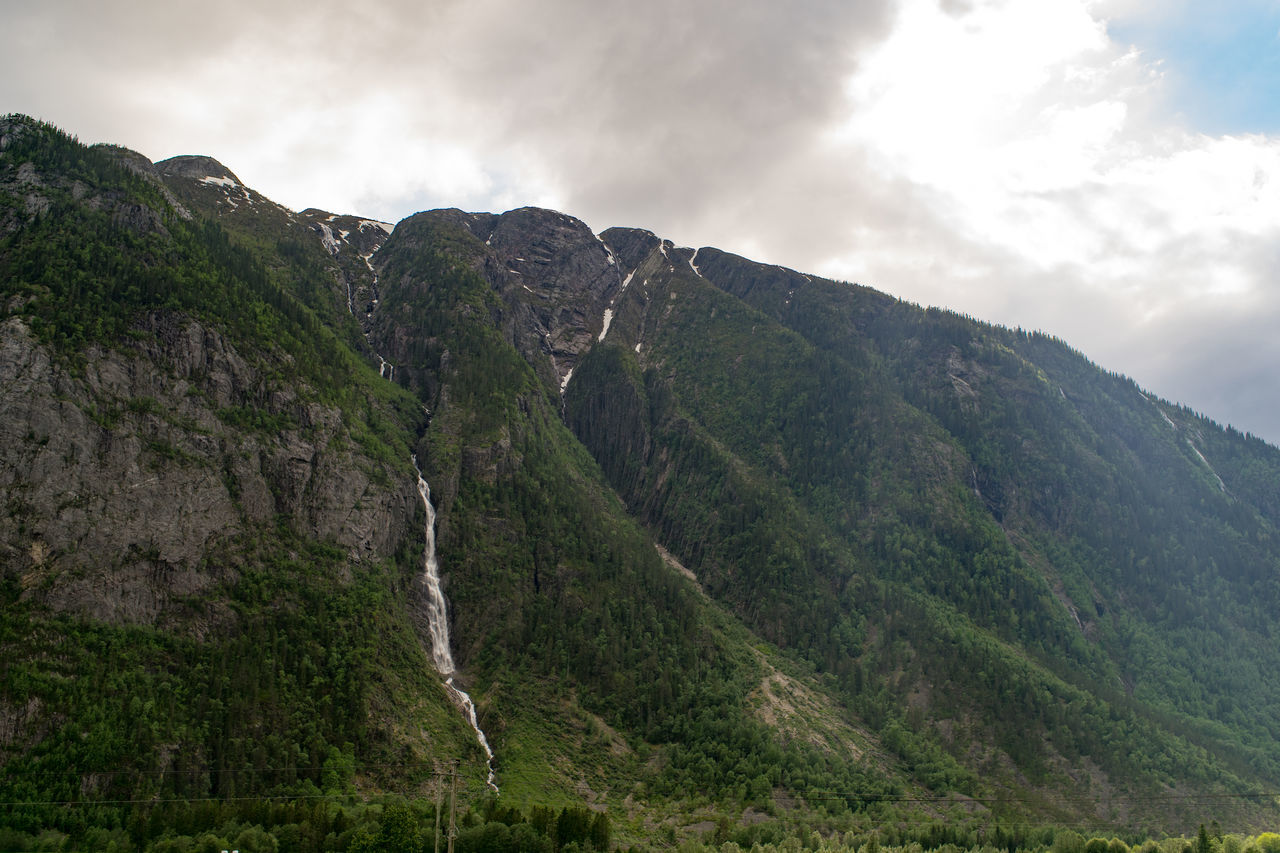 Waterfall Beauty In Nature Drivebyphotography Landscape Mountain Mountain Range Nature Norway Outdoors Physical Geography Scenics Telemark The Great Outdoors - 2016 EyeEm Awards Flatdal