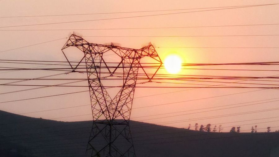 We need both! Power Lines Sun Suunrise Early Morning Quiet Moments No People