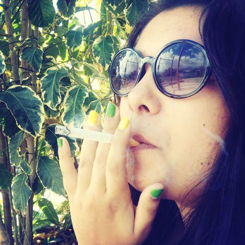 RePicture Femininity Smoke Girl Sunglasses Enjoying The Sun