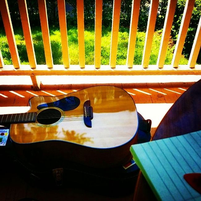 Front porch making music.