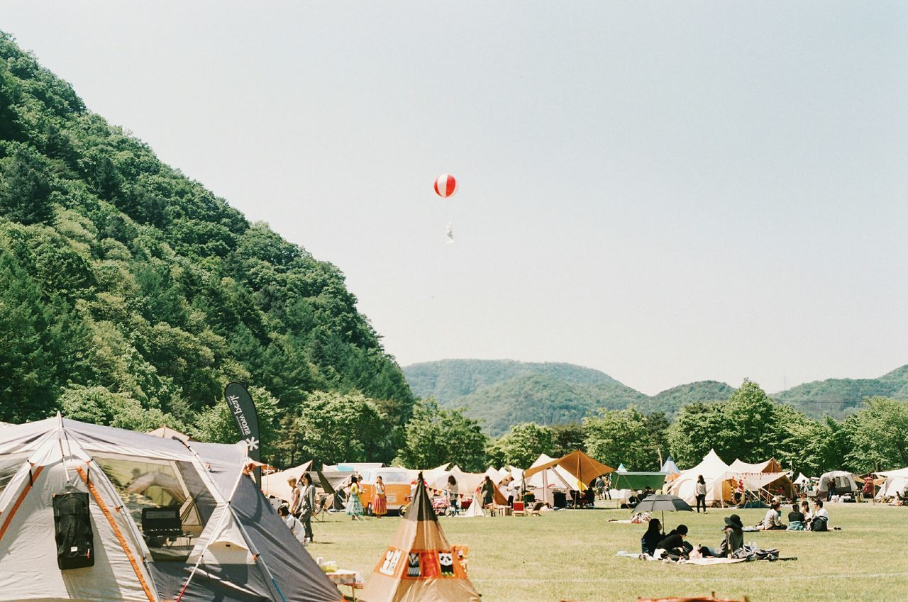 Beautiful stock photos of music festival, Camping, Clear Sky, Day, Hot Air Balloon