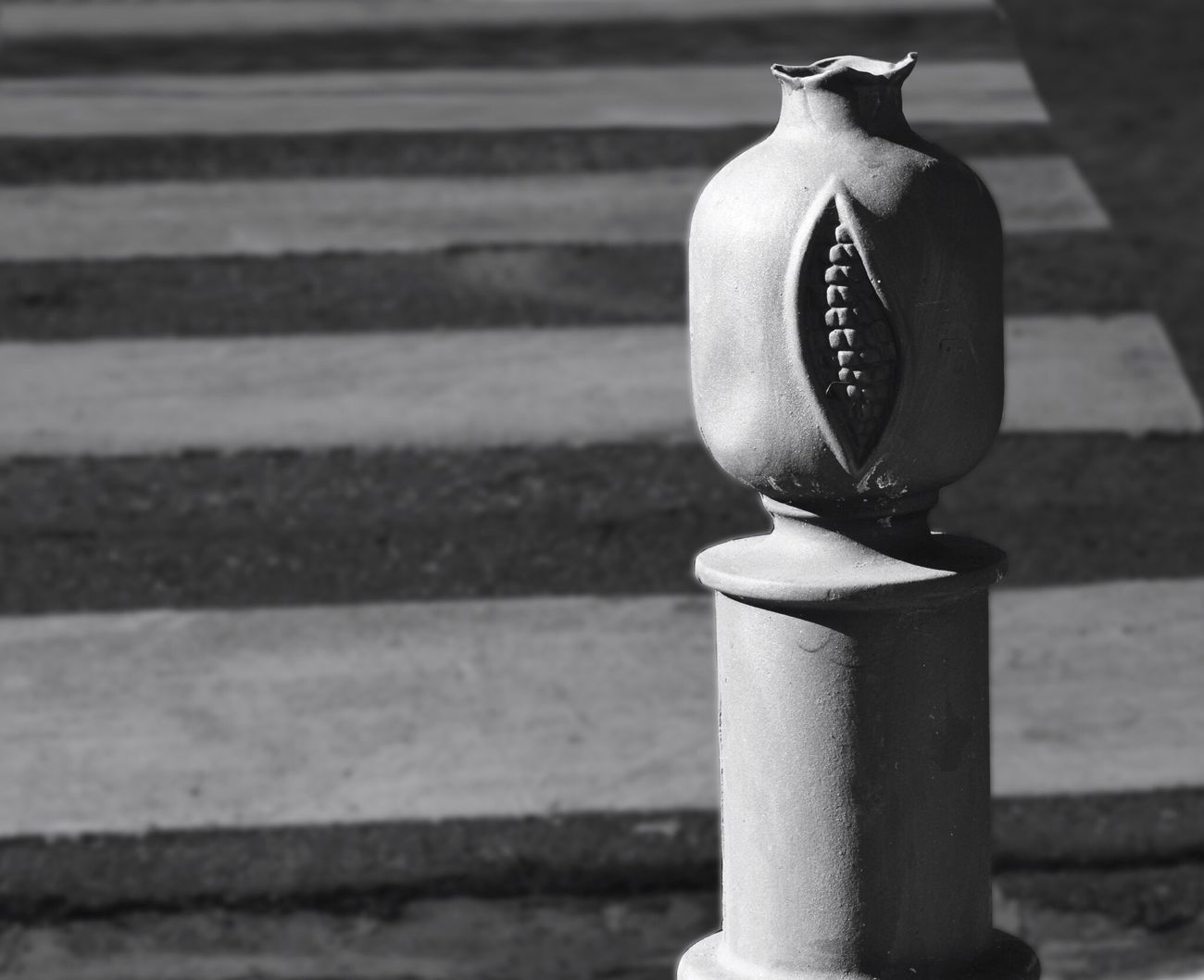 Granada (pomegranate) Focus On Foreground Close-up Outdoors No People No Parking No Parking Sign Blackandwhite Black And White in Granada SPAIN
