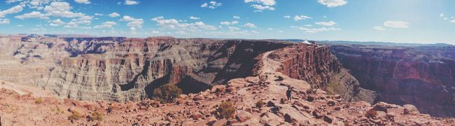 Beauty In Nature Canyon Clouds And Sky Grand Canyon Landscape Panorama Path Red Rocks  Red&blue Remote Scenics Sky The Great Outdoors With Adobe The Great Outdoors - 2016 EyeEm Awards