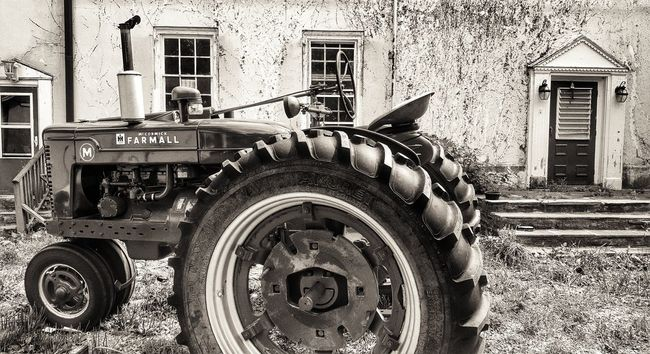 Building Exterior No People Architecture Day Outdoors Built Structure Close-up Clock Horizontal Tractor Farm Farm Life Farmhouse Rural Scene Sepia Doors Historic Farmall Red Steps Decay Plants Perspective Still Life New Jersey
