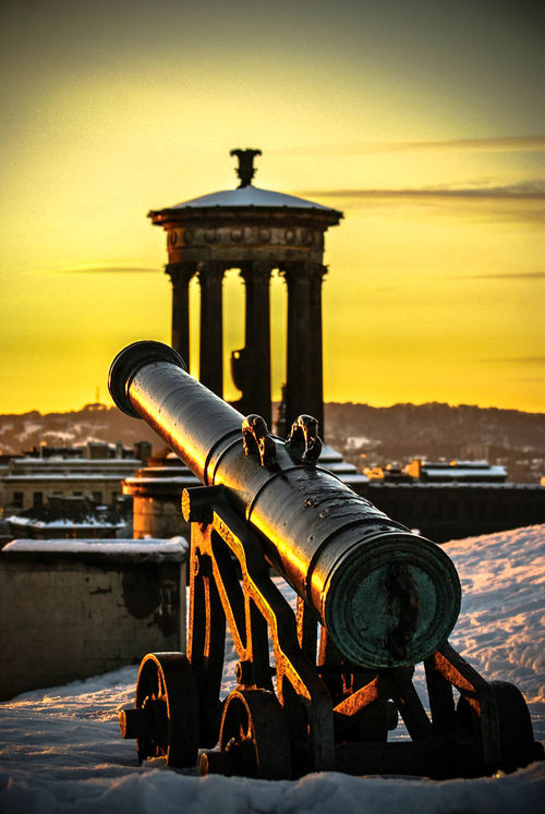 Canon with a view of the Dugald Stewart Monument in the background, Calton Hill, Edinburgh Architecture Calton Hill Canonphotography City City Cityscape Dugald Stewart Monument Edinburgh EyeEmNewHere No People Outdoors Pauldroberts Sky Statue Sunset Neighborhood Map Your Ticket To Europe Paint The Town Yellow Been There.