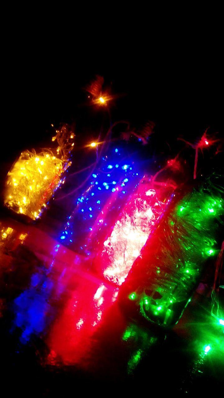 night, illuminated, celebration, christmas decoration, multi colored, no people, christmas, christmas lights, low angle view, christmas ornament, indoors, close-up