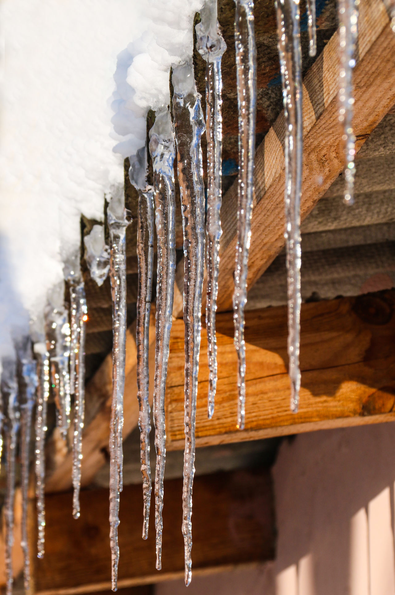 Close-up Danger Danger! Day Drip Drop Ice Icicles Nature No People Outdoors Roof Snowbreak Thaw