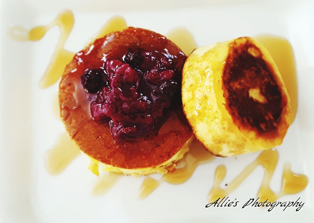 Delicious Pancakes by Allie's Kitchen. Food Ready-to-eat Plate Indoors  Food And Drink No People Sweet Food Freshness Close-up Day EmEyeNewHere Breakfast Is Served Maple_syrup Berry Sauce Delicious Dish