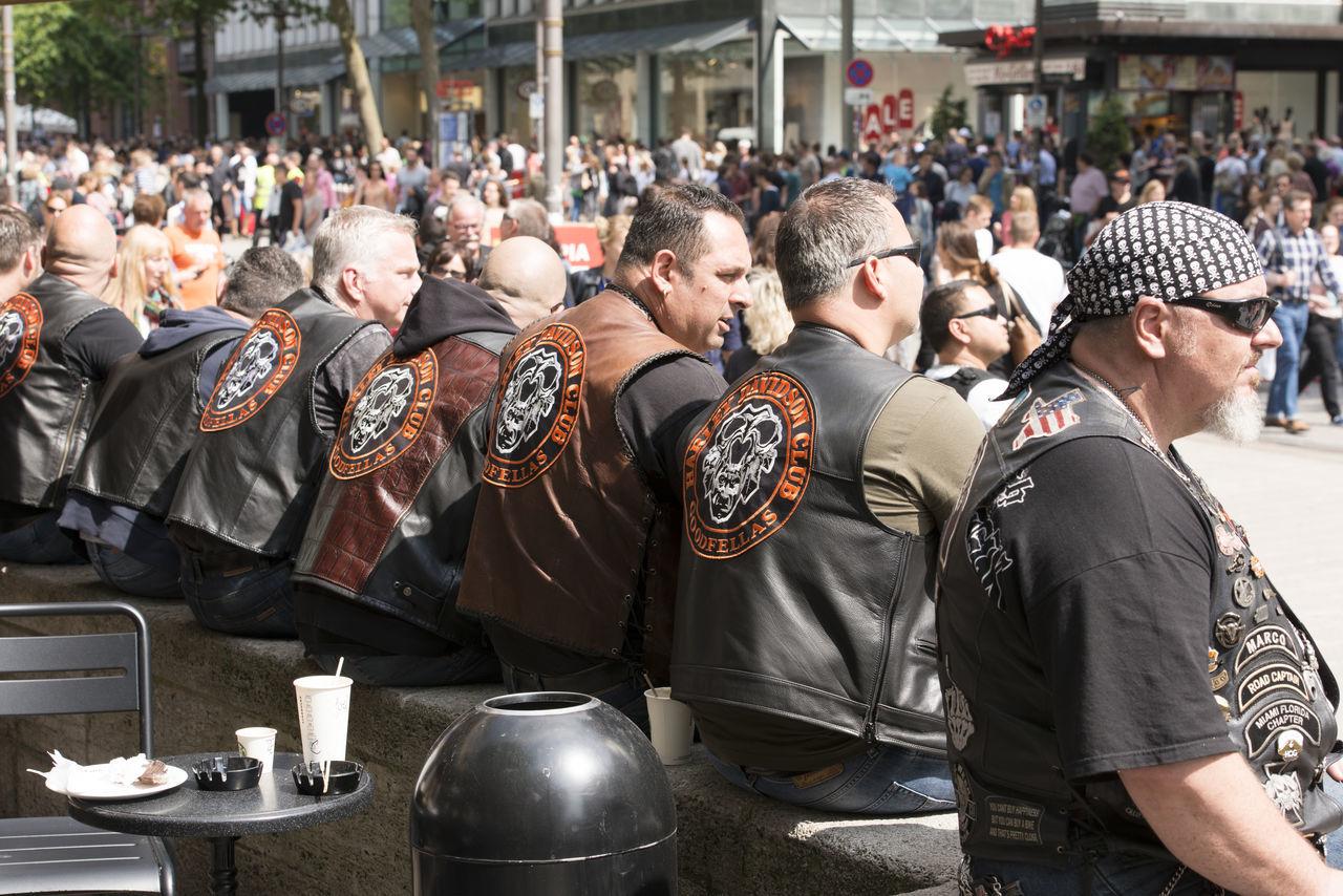 Hamburg, Germany - June 20, 2015: Harley Davidson riders at the Harley Days in Mönckebergstreet Hamburg 2015 Bike Biker Chrome Event Germany Hamburg Harley Days Motorcycle Reeperbahn