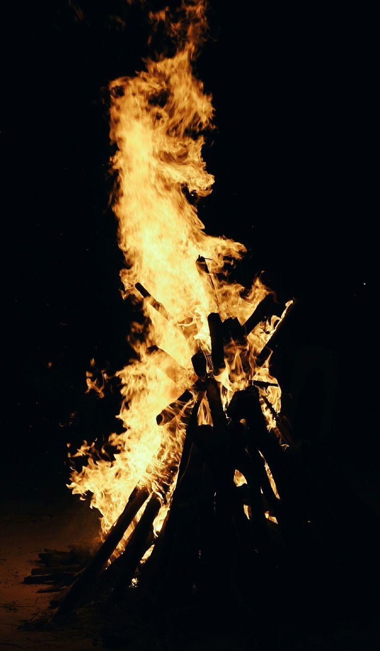 flame, burning, night, heat - temperature, bonfire, campfire, outdoors, no people, close-up