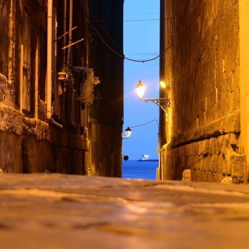 Narrow Passage Sea Seatown Stone Building Lamp Light