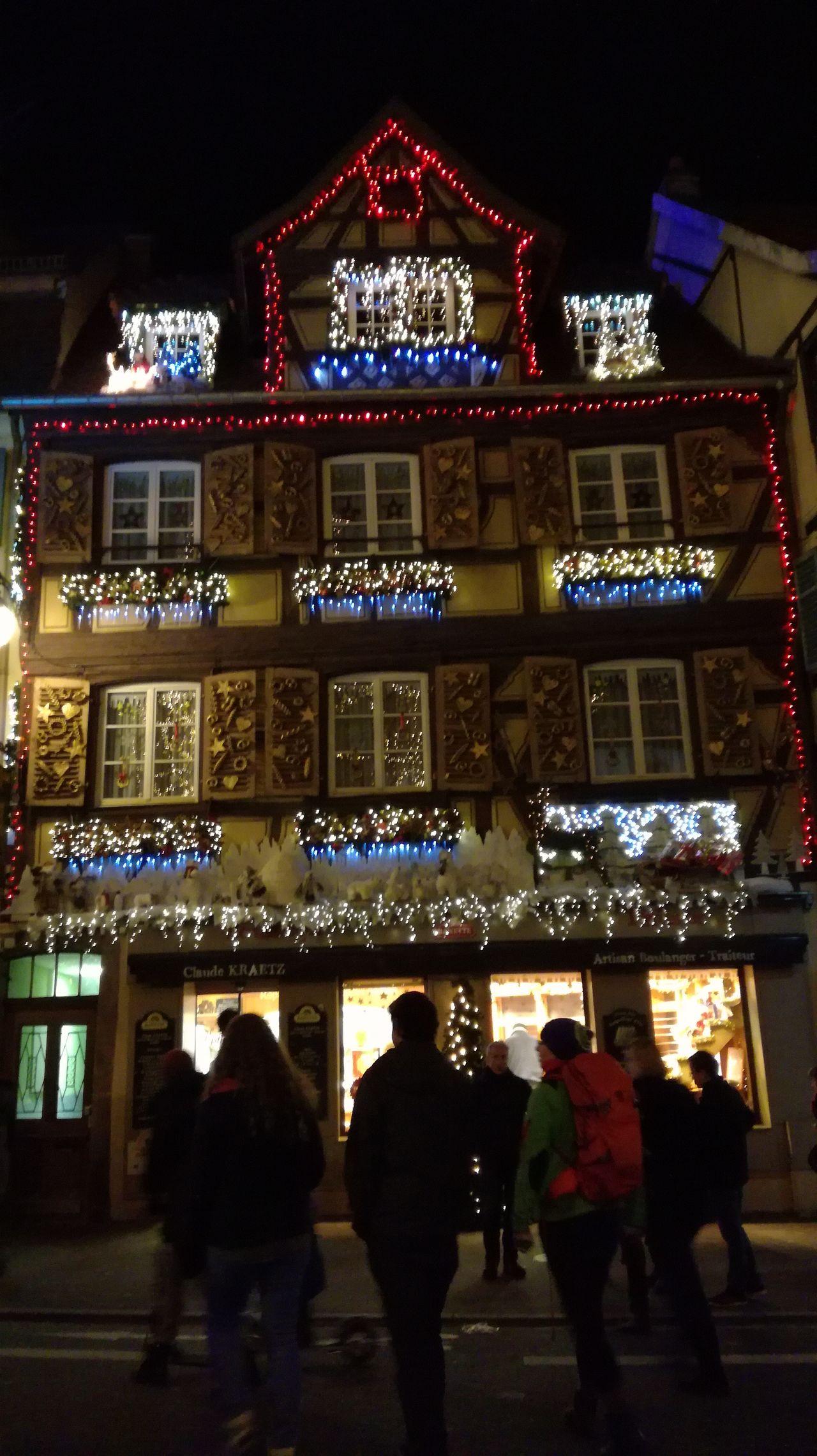 Illumination de Noël à Colmar Night Architecture Illuminated Christmas Decoration Outdoors Colmar, Alsace, France Christmas Market