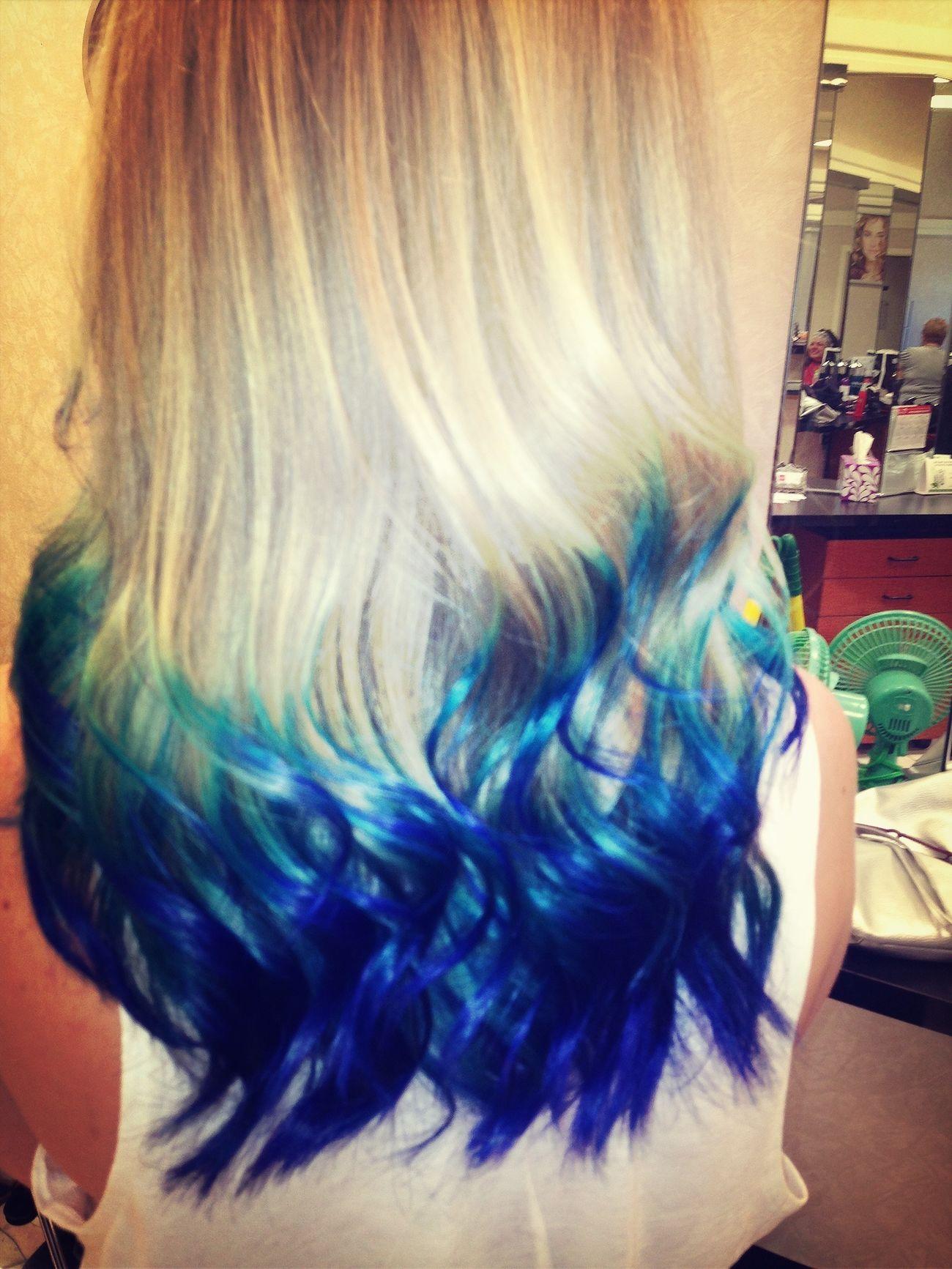 Hair Blue Hair Dip Dye Hair