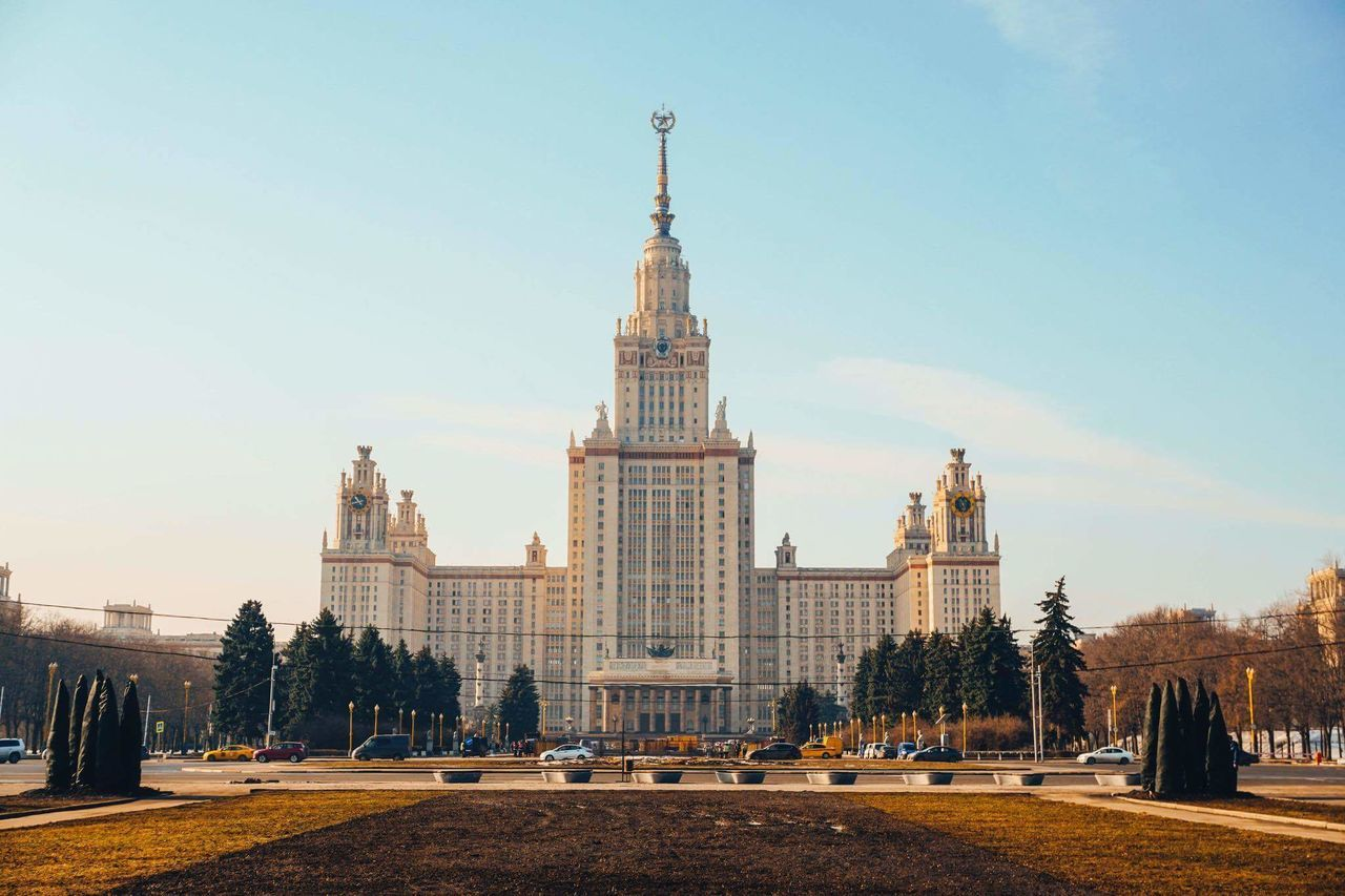 Moscow State University City Architecture Morning Travel Destinations Sky Cityscape Outdoors Day Business Finance And Industry History Built Structure Building Exterior Tree No People