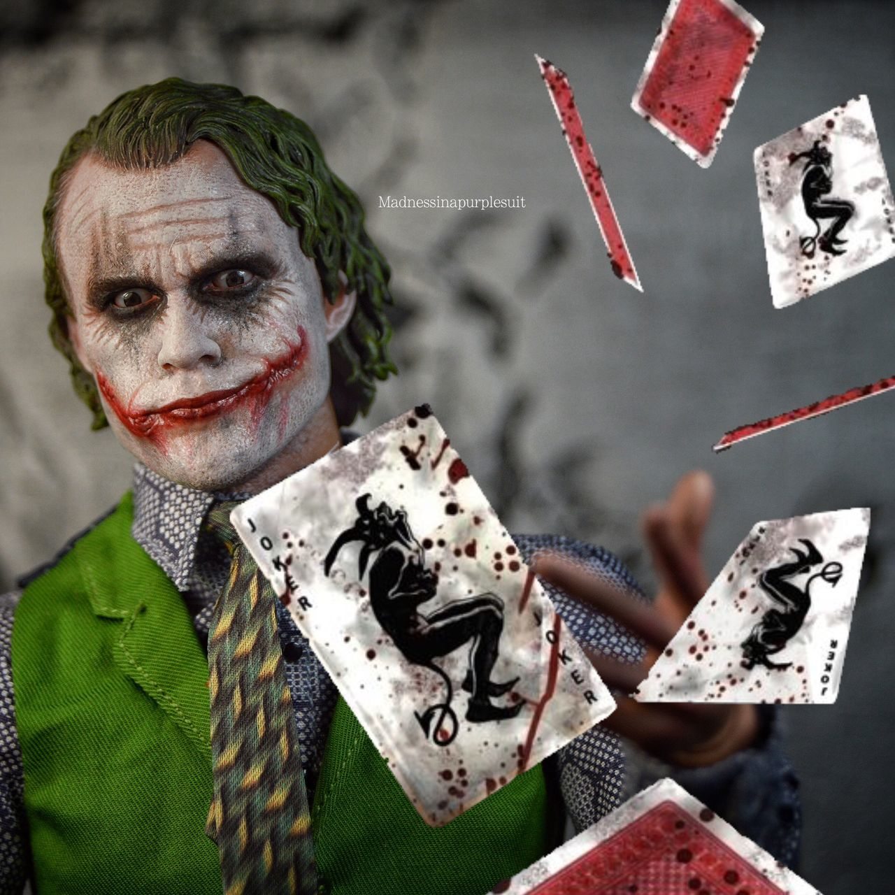 A little Joker action. Not only did I use my Heath ledger Joker from hot toys; I also Photoshop the cards being thrown. Photography Photographer Joker Thejoker Clownprinceofcrime Arkhamasylum
