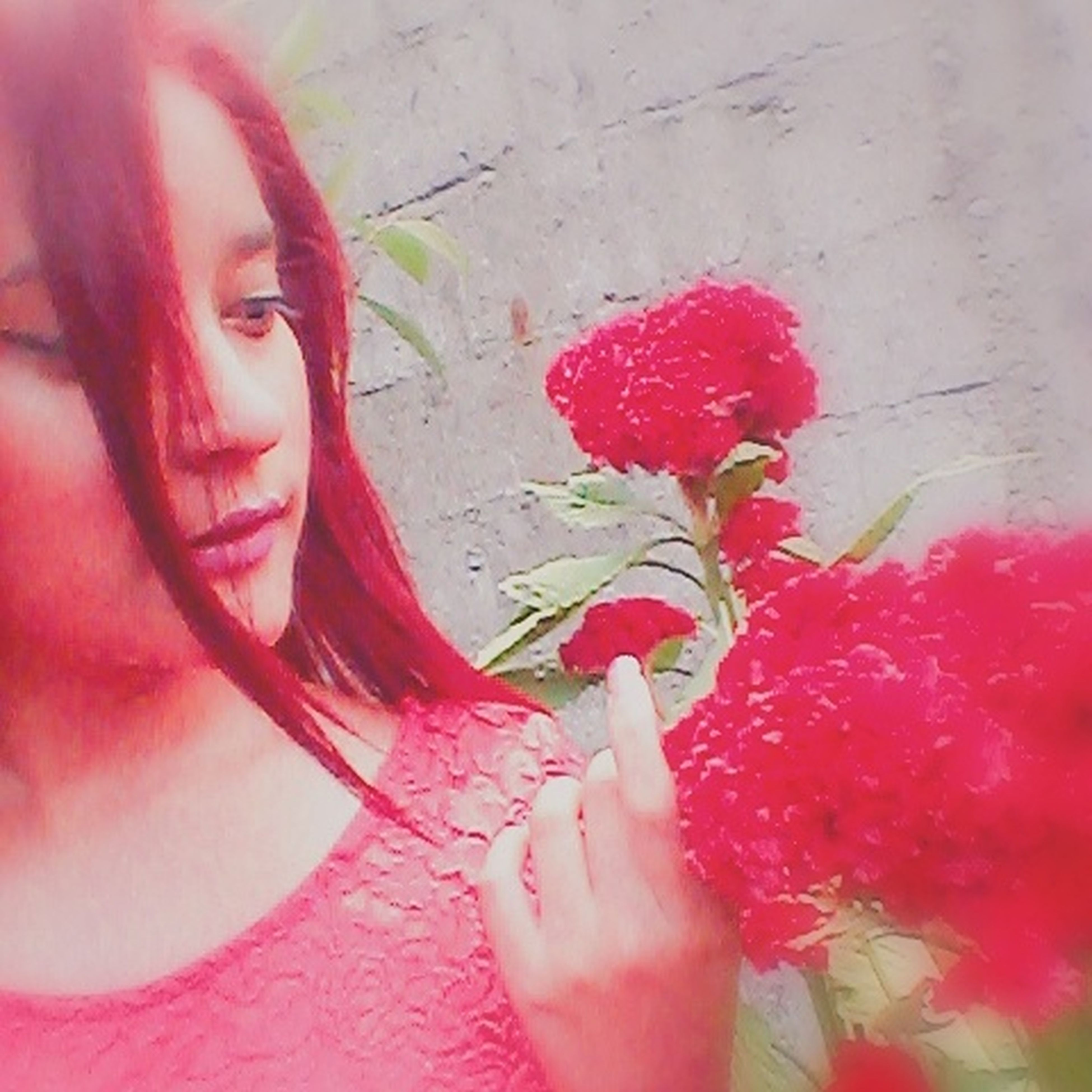 red, young women, young adult, beauty, leisure activity, femininity, lifestyles, close-up, pink color, person, day, nature