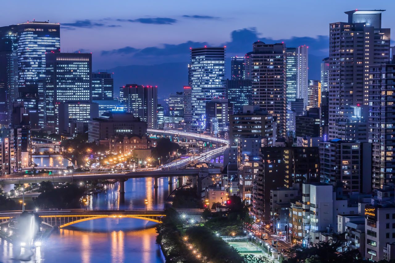 大阪夕景 Osaka magic hour Catch The Moment Night Photography Night View OSAKA From My Point Of View City Life Sunset Magic Hour Magichour My Fevorite Place capturing motion Close Up Technology Light Tail Light And Shadow