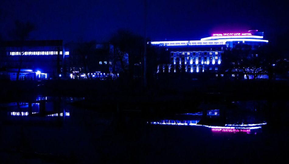 Reflection Night Water Illuminated Architecture Built Structure No People Outdoors Sky липецк Lipetsk