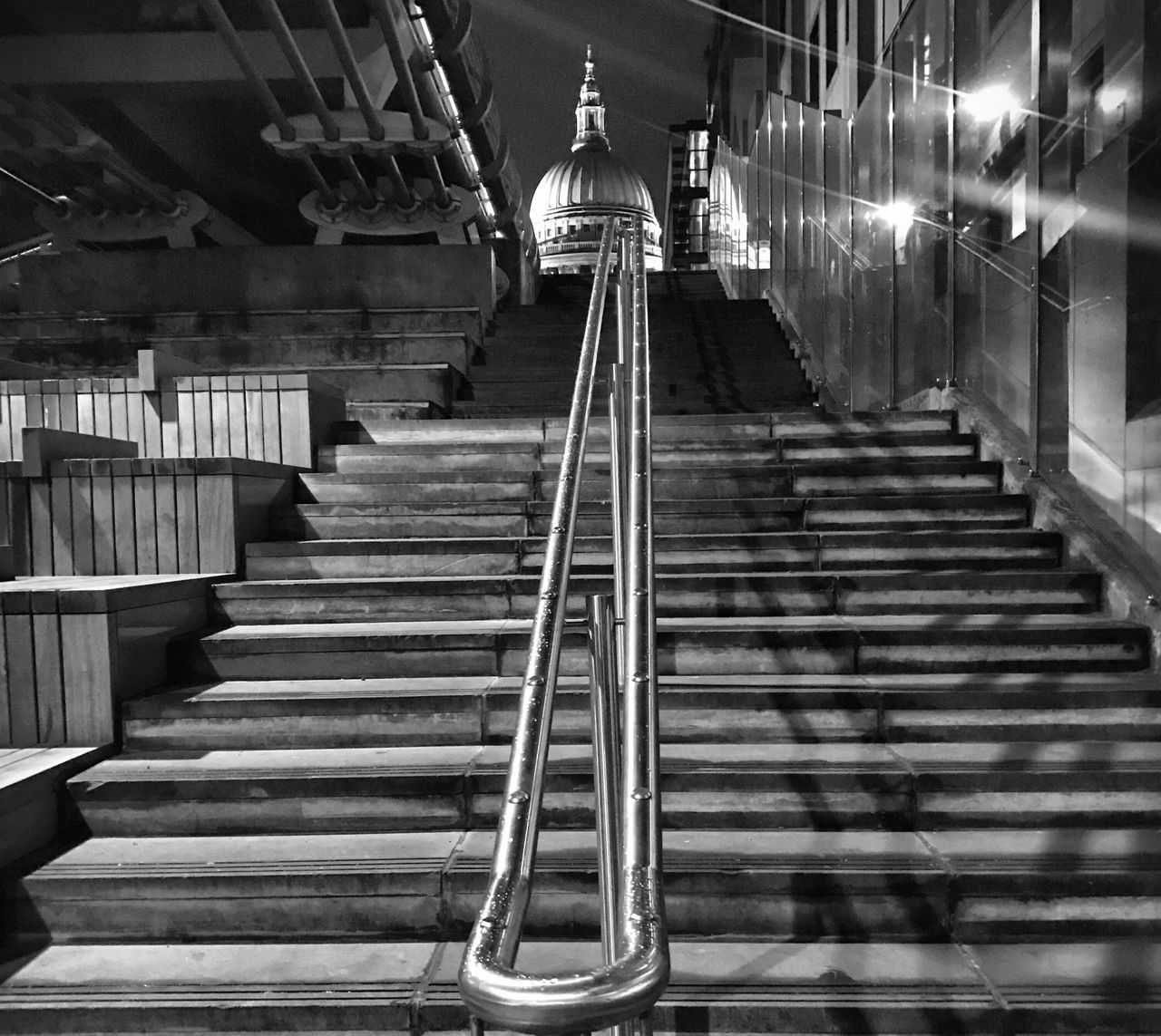 Steps Steps And Staircases Staircase Railing The Way Forward Architecture Built Structure Indoors  Stairs No People Hand Rail Illuminated Day EyeEm Best Edits EyeEm Best Shots Blackandwhite Blackandwhite Photography Black And White Architecture The Architect - 2017 EyeEm Awards EyeEm LOST IN London