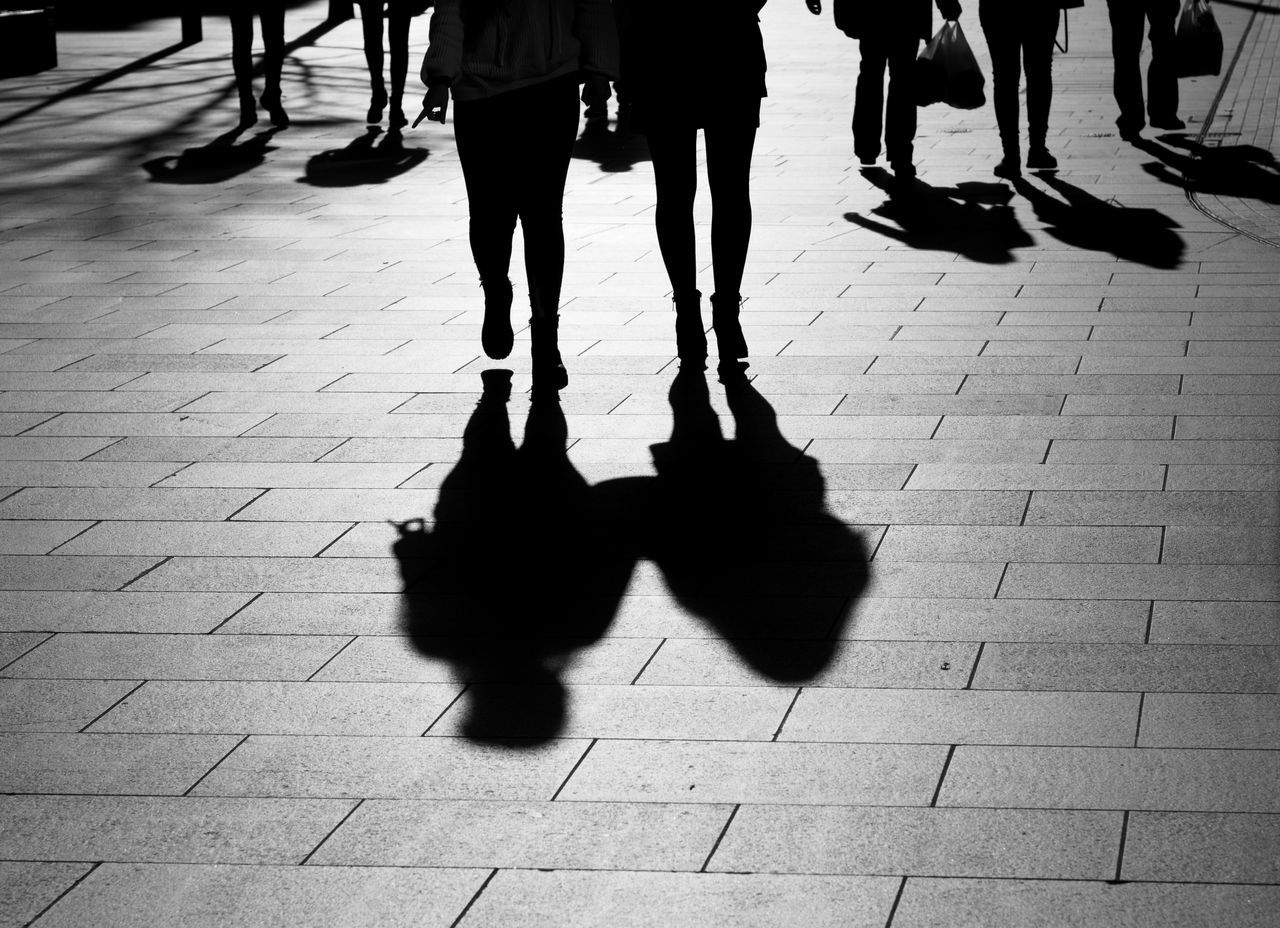 shoppers on a bright day Human Leg Lifestyles People Real People Shadow Silhouette Sunlight Togetherness Walking