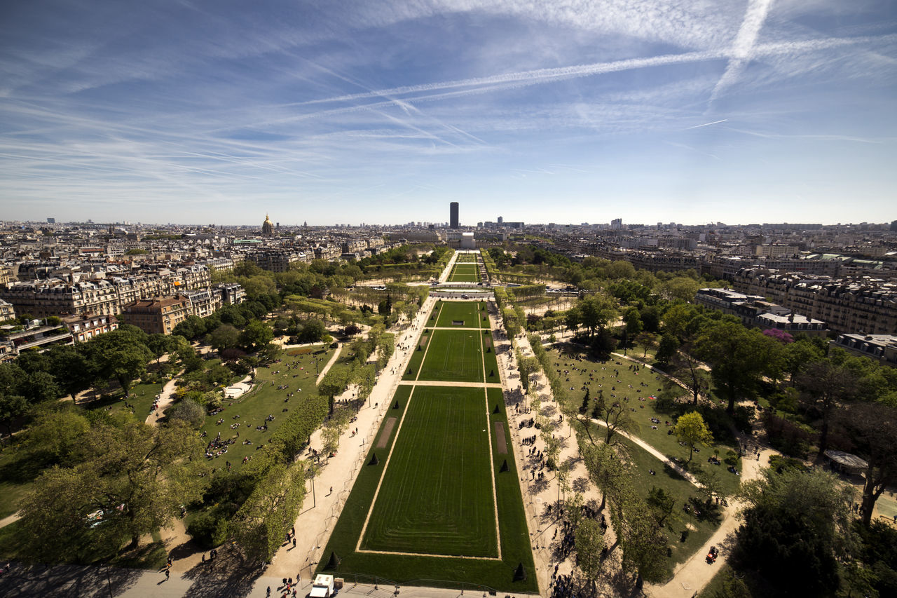 Aerial View Architecture Architecture Architecture_collection Built Structure Champs De Mars City Cityscape Cityscape Day Eiffel Tower High Angle View Jardin Montparnasse Montparnasse Tower, Paris France Outdoors Paris From Above Paris From The Sky Pattern Road Sky Sunny The Architect - 2017 EyeEm Awards Tourism View From Above