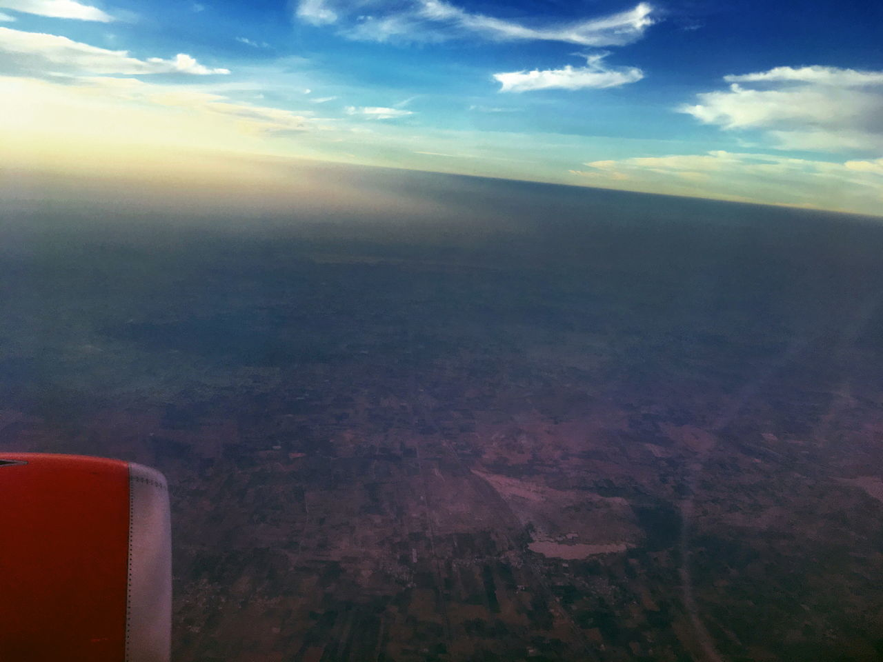 scenics, sky, landscape, beauty in nature, cloud - sky, aerial view, nature, airplane, outdoors, tranquility, air vehicle, flying, tranquil scene, no people, aircraft wing, day, vehicle part, patchwork landscape, airplane wing